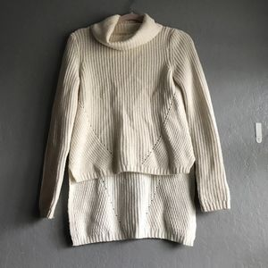 Anthro Moth Cable knit high to low sweater blouse